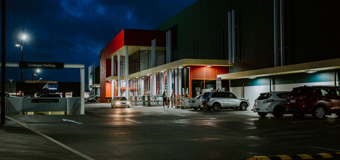 Bunnings at Night with lights on